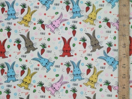 Printed Polycotton - Colourful Bunnies