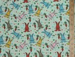 Printed Polycotton - Colourful Bunnies (Mint)