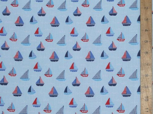 Sail Boats Printed Polycotton Fabric (Sky Blue)