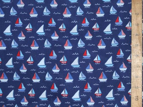 Sail Boats Printed Polycotton Fabric (Navy)