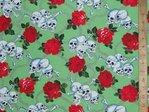 Skull & Roses Print Pure Cotton (Green)