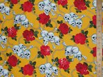 Skull & Roses Print Pure Cotton (Yellow)