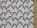 Unicorn & Rainbow Print Pure Cotton (White)