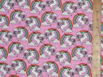 Unicorn & Rainbow Print Pure Cotton (Pink)