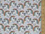 Unicorn & Rainbow Print Pure Cotton (Silver Grey)