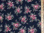 Floral Rose Print Pure Cotton (Navy)