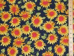 Sunflower Print Pure Cotton (Navy)