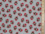 Xmas Pug Printed Polycotton Fabric - Grey