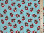 Xmas Pug Printed Polycotton Fabric - Light Turquoise