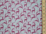 Xmas Reindeers Printed Polycotton Fabric - Grey