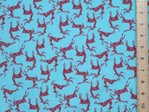 Xmas Reindeers Printed Polycotton Fabric - Light Turquoise