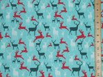 Xmas Reindeers Polycotton Fabric - Light Turquoise