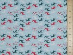 Xmas Small Reindeers Polycotton Fabric - Sky Blue