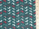Xmas Small Reindeers Polycotton Fabric - Forest Green
