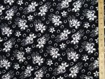 "Printed Viscose Fabric 58"" wide (Black)"