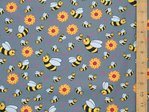 Printed Pure Cotton Honey Bees (Grey)